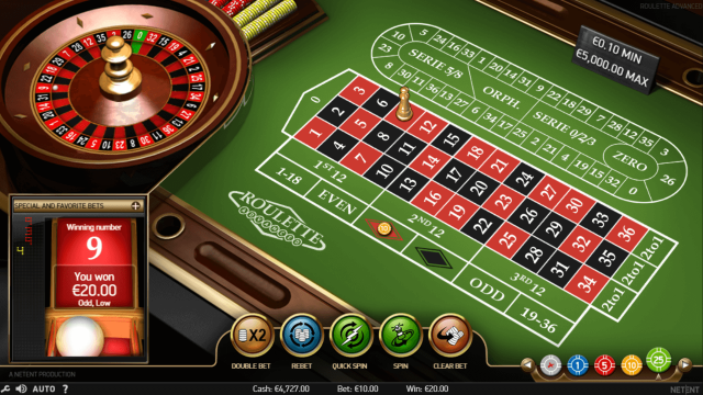 Характеристики слота Roulette Advanced 5